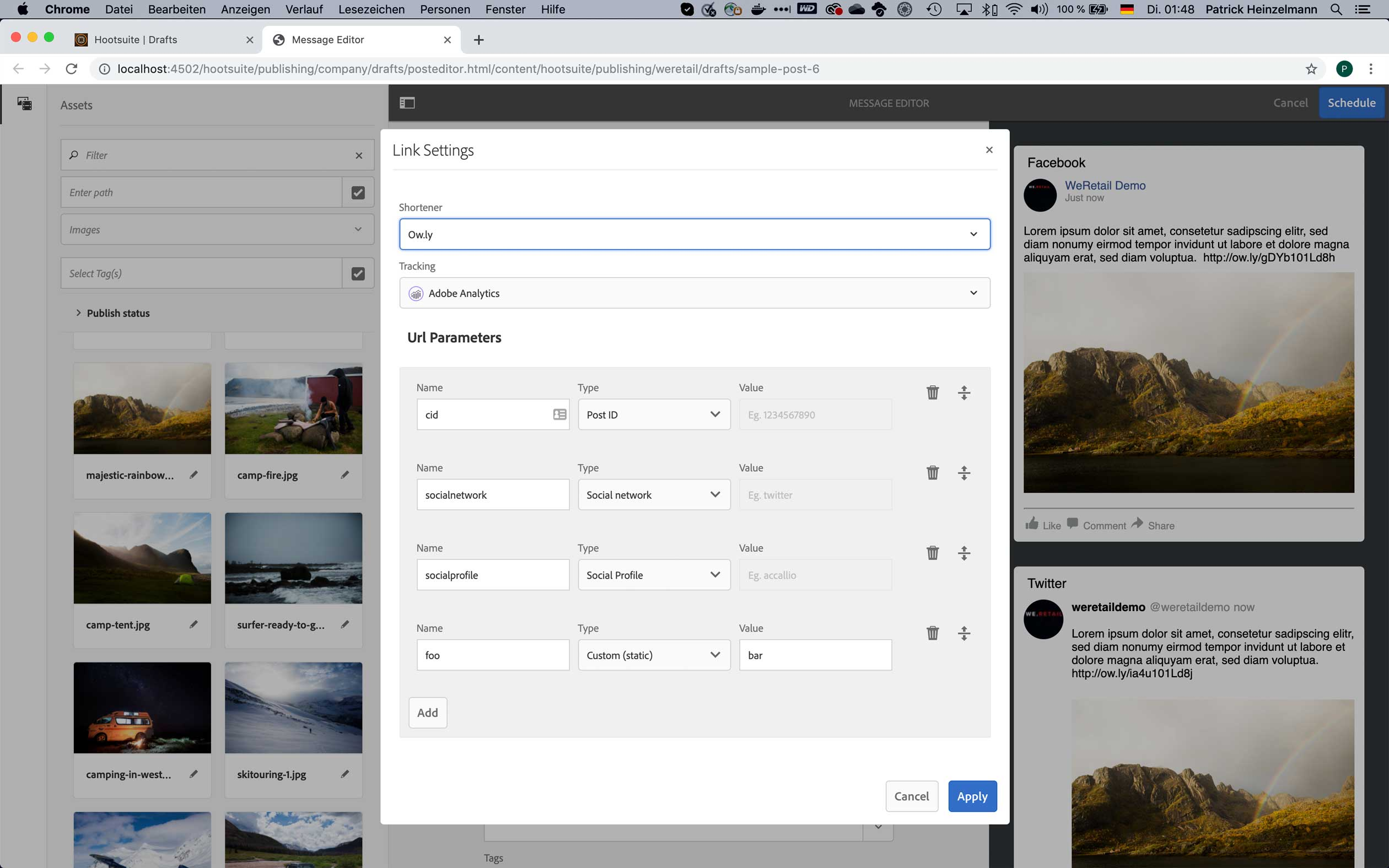 Tracking parameters or link shortening services can be added to URLs in social posts